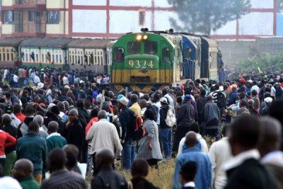 A commuter train of the Nairobi Commuter Rail Service arrives at the Dandora station during a strike by the Federation of Public Transport operators in Nairobi (file photo).