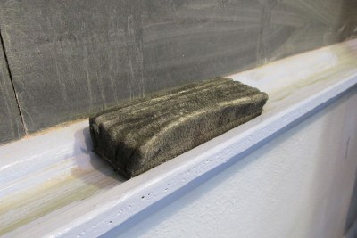 Blackboard and chalk eraser in classroom.