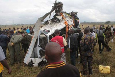 The wreckage of the helicopter that crashed into Lake Nakuru in October 2017 claiming the lives of five people being retrieved from the water.