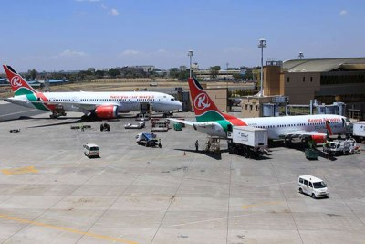 Kenya Airways planes at the Jomo Kenyatta International Airport in Nairobi.