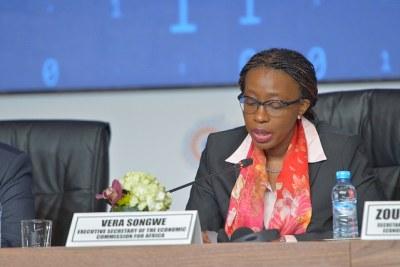 Mme Vera Songwe, secrétaire exécutive de la CEA,  aux travaux de la réunion du comité d'experts de la 52ème session de la conférence des ministres africains des Finances, de la planification et du développement économique (COM2019) de la Commission économique pour l'Afrique (CEA) qui se sont ouverts, ce mercredi à Marrakech.