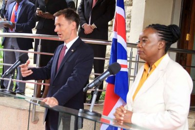 Foreign Affairs Cabinet Secretary Monica Juma (right) and Foreign Secretary of the United Kingdom Jeremy Hunt address a joint press conference in Nairobi on May 3, 2019.