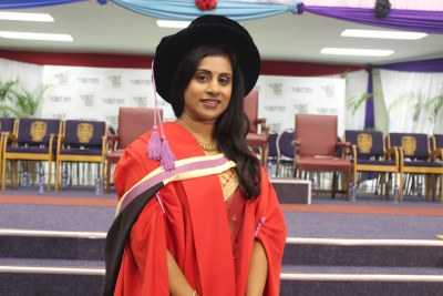 Ghaneshree Moonsamy whose thesis for a Masters degree in Biotechnology at the Durban University of Technology was converted into a PhD thesis because of its superior quality.