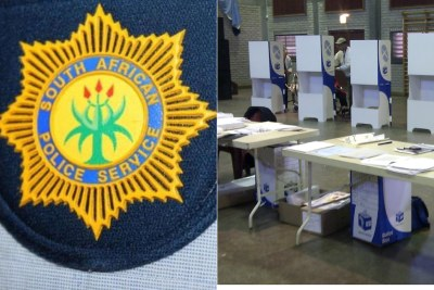 Left: SAPS police badge. Right: Voting booths.