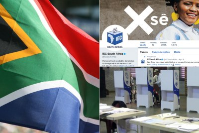 Left: South African flag. Top-right: Independent Electoral Commission Twitter page. Bottom-right: Voting booths.