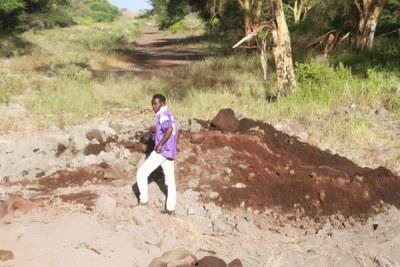 The scene where Kenya Pipeline Company technicians repaired a leak on the Mombasa-Nairobi oil pipeline at Kiboko in Makueni County (file photo).
