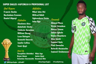 The Super Eagles 25-Man Afcon 2019 provisional squad.