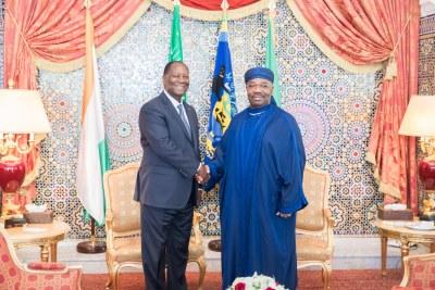 Le Président de la République, Son Excellence Ali Bongo Ondimba, a reçu ce jour au Palais présidentiel son homologue, le Président de la République de Côte d'Ivoire Son Excellence Alassane Dramane Ouattara dans le cadre d'une visite de travail et d'amitié.