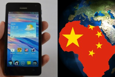 Left: Huawei phone. RIght: Chinese flag superimposed over Africa.