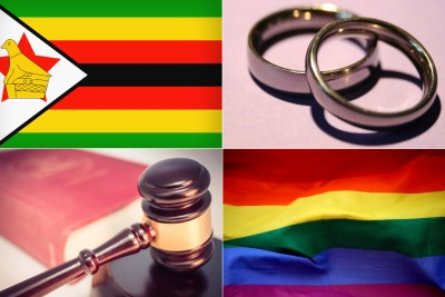 Top-left: Zimbabwean flag. Top-right: wedding bands. Bottom-left: Judge's gavel. Bottom-right: LGBTQI+ pride flag.