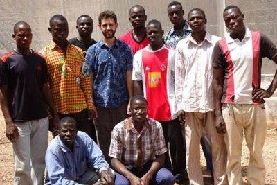 The MosquitoSphere team consists of authors on the paper and local volunteers from Soumousso, Burkina Faso. Back row (from left to right): Etienne Bilgo, Oliver Zida, Bema Ouattara; Middle row: Boureima Saré, Judicael Zida, Brian Lovett, Moussa Ouattara, MichaÏlou Sanfo and Bamory Ouattara; Front row: Yaya Ouattara and Jacques Gnambani.