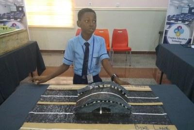 10-year-old Oluwafayokunmi Olurinola who won the Ijebu-Ode Future City Challenge for the plastic road prototype he designed.