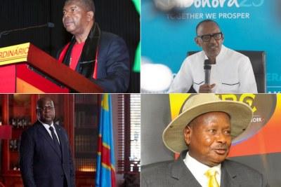 Collage -  Président angolais João Lourenço, Président rwandais Paul Kagame, Président de la RDC Felix Tshisekedi et le Président angolais Yoweri Museveni