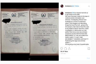 Singer Timi Dakolo reacts to police invitation.