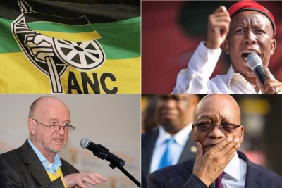 Top-left: ANC flag. Top-right: EFF leader Julius Malema. Bottom-left: ANC National Executive Committee member Derek Hanekom. Bottom-right: Former president Jacob Zuma.