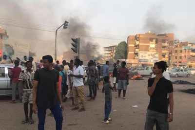 Demonstration in Arkaweet, Khartoum on Tuesday against the El Obeid massacre