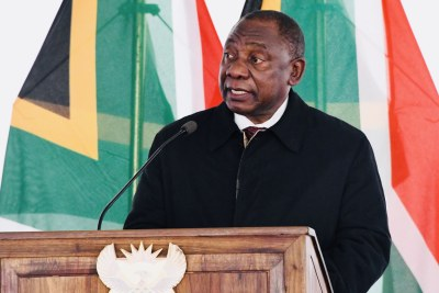 President Cyril Ramaphosa delivering the eulogy at the Special Official Funeral service of Ntate Lesibe Isaac