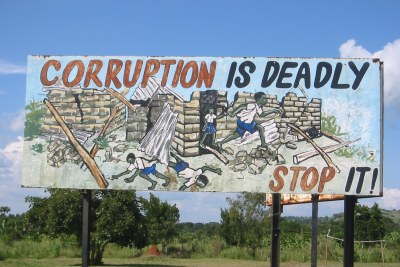 An anti-corruption sign