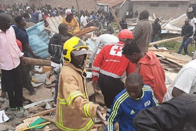 Search and rescue efforts underway at Precious Talent Academy in Nairobi's Ng'ando area along Ngong Road.