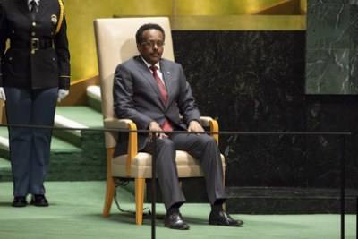 Mohamed Abdullahi Mohamed Farmajo, President of the Federal Republic of Somalia, moments before addressing the general debate of the General Assembly's seventy-fourth session.