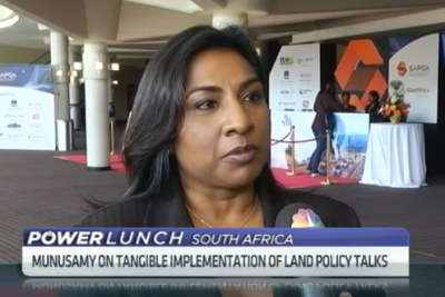 Ranjeni Munusamy, Associate Editor at Tiso BlackStar, being interviewed on CNBC Africa's Power Lunch show in 2018.
