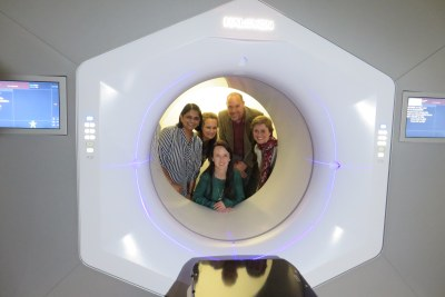 The new Halcyon radiotherapy machine at Groote Schuur hospital. In front is Nanette Joubert, medical physicist. Back from left to right: Dr Bhavna Patel, CEO of the hospital; Dr Bernadette Eick, chief operations officer; Francois Heyns, a patient; and Prof Jeannette Parks; head of Radiation Oncology.
