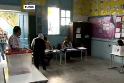 A voting station in Tunisia on October 6, 2019.