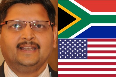 Left: Atul Gupta. Top-right: South African flag. Bottom-right: U.S. flag.