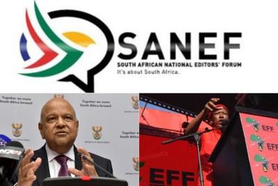 Top: Sanef logo. Bottom-left: Public Enterprises Minister Pravin Gordhan. Bottom-right: Economic Freedom Fighters leader Julius Malema.