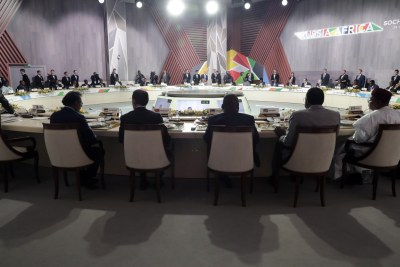 The second plenary session at the 2019 Russia-Africa Summit at the Sirius Park of Science and Art in Sochi, Russia, 24 October 2019.