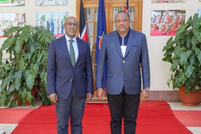 President Uhuru Kenyatta with Abebe Selassie, the IMF's Director for African Departments, during their meeting at State House in Nairobi on October 28, 2019.