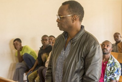Robert Bayigamba, the former Minister for Youth, Sports and Culture appearing before the Nyarugenge Primary Court.