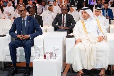 President Paul Kagame and Abdullah Bin Nasser Bin Khalifa Al Thani, the Qatar Prime Minister and Minister of Interior, at the Smart City Expo in Doha.