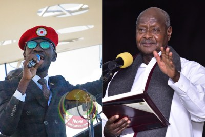 Robert Kyagulanyi, better known as Bobi Wine, left, President Yoweri Museveni (file photo).