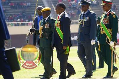President Emmerson Mnangagwa inspecting guard of honour (file photo).
