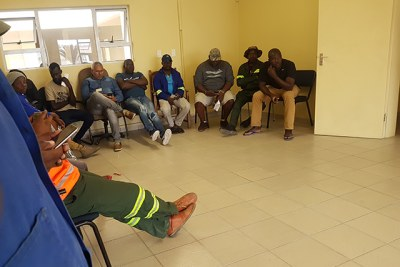 People standing in line at the Erongo Regional office to get their duplicate voter cards.