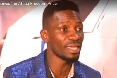 Ugandan MP Robert Kyagulanyi Ssentamu (Bobi Wine) speaks to the media about winning the Africa Freedom Prize.