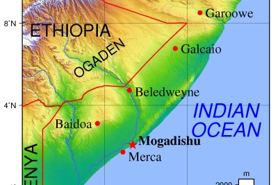 A map of Somalia.