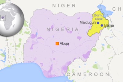 Map of Nigeria showing the location of Bama and Maidiguri, in Borno State.