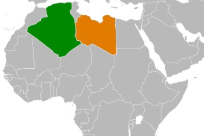 Locator map showing Algeria (green) and Libya (orange).