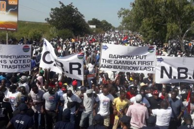 Protests against Gambian president Adama Barrow.