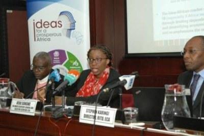 La Secrétaire exécutive de la CEA, Vera Songwe, lors d'une conférence de presse à Addis-Abeba