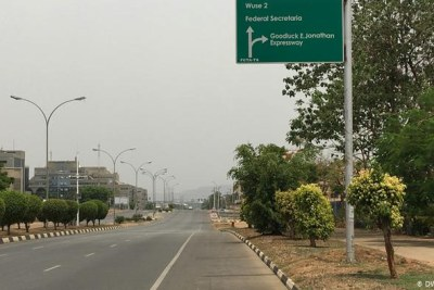 An empty road in Abuja during the COVID-19 lockdown of the Nigerian capital.