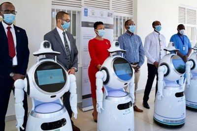 Government officials unveil five high-tech robots to support in the fight against Covid-19 (file photo).