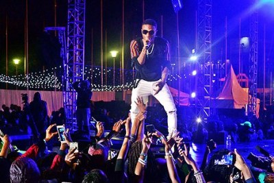Nigerian musician Wizkid performs at a concert held in Nairobi on July 22, 2017.