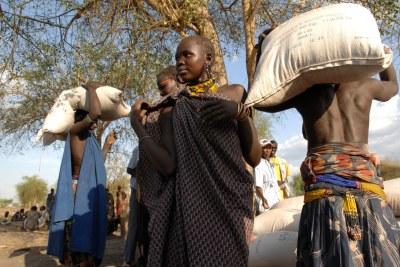 Le Programme alimentaire mondial (PAM) distribue de la nourriture dans la zone administrative du Grand Pibor, dans la partie orientale du Soudan du Sud