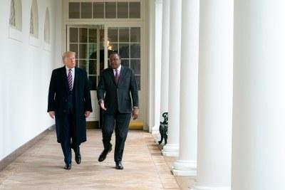 President Donald J. Trump and Kenya's President Uhuru Kenyatta walk along the Colonnade Thursday, Feb. 6, 2020, at the White Hous.