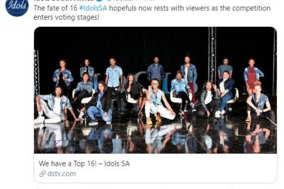 The Twitter announcement of the Idols SA top 16.