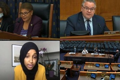 U.S. House Africa Subcommittee Hearing on Democracy in Africa. Ranking members Karen Bass and Chris Smith (top row), Ilhan Omar and witnesses at table (bottom row).