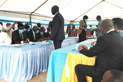The 13 rebel factions prepare for the signing of the Sudan Peace Agreement in Juba, South Sudan, on October 3, 2020.
